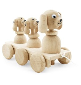 Happy Go Ducky Wooden Pull Along Dog Family