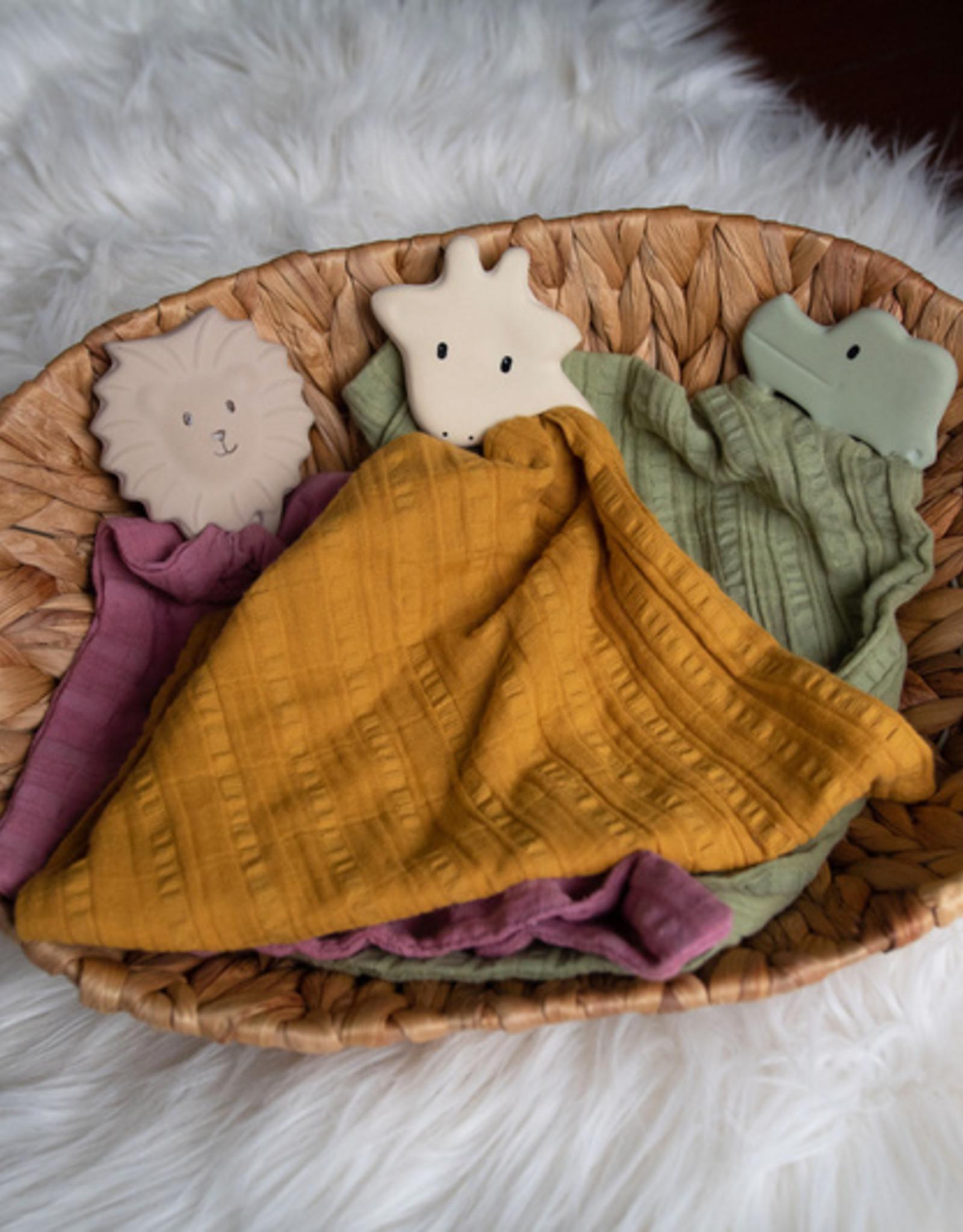 Tikiri Tikiri - Teether Crocodile With Olive Green Muslin Comforter