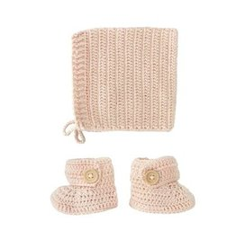 O B Designs O.B Designs - Bonnet Bootie Set Peach
