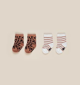 Huxbaby Huxbaby Ocelot/Stripe  Socks 3-6 Mths