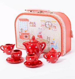 Moulin Roty Moulin Roty - Red Ceramic Tea Set In case