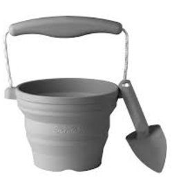 Scrunch Scrunch - Seedling Pot And Trowel Anthracite Grey