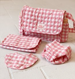 Tiny Harlow Tiny Harlow- Pink Gingham Dolls Nappy Bag Set