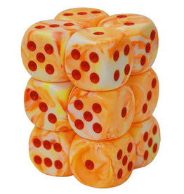 Dice Menagerie 10: 16mm D6 Festive Sunburst/Red (12)