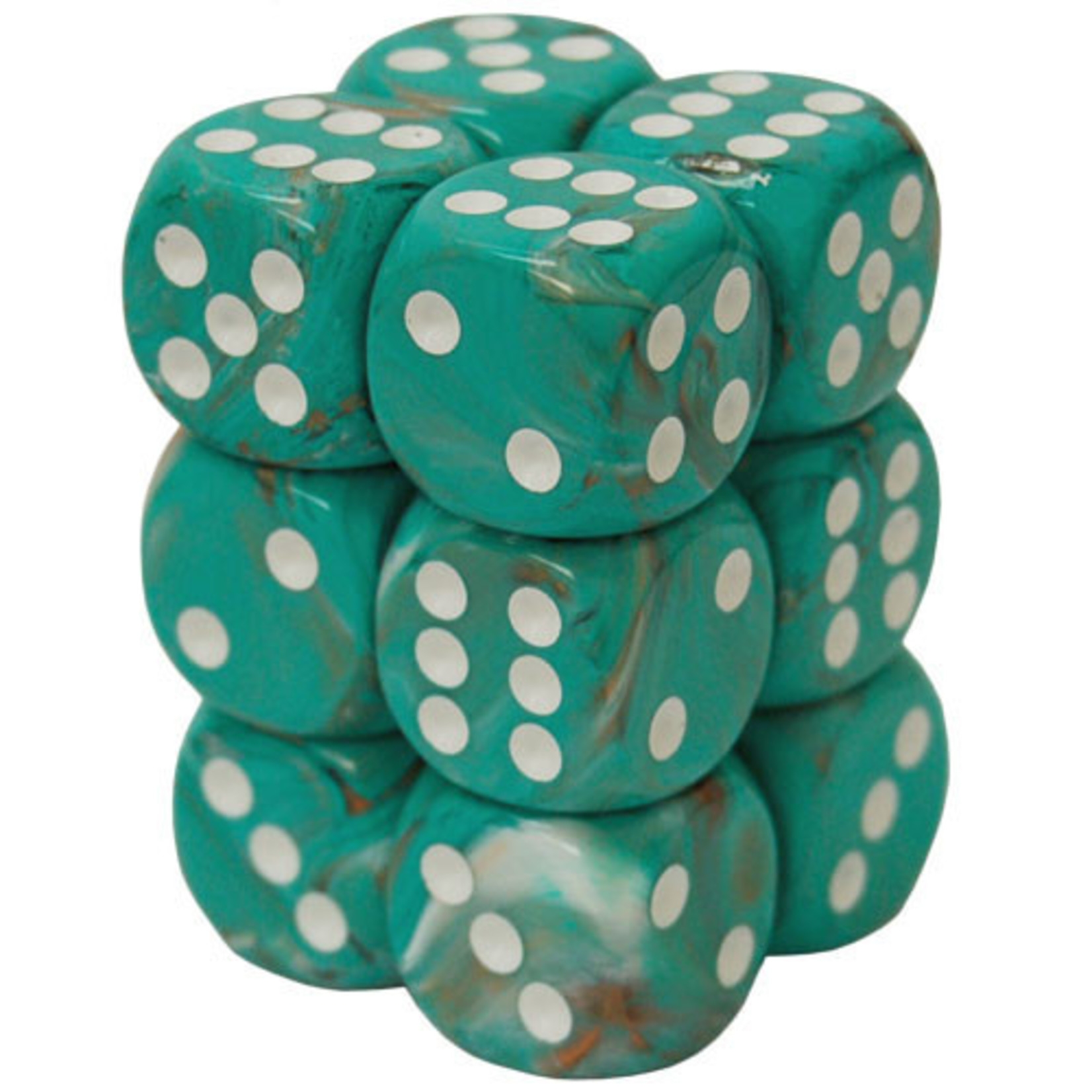 Dice Menagerie 10: 16mm D6 Marble Oxi Copper (12)