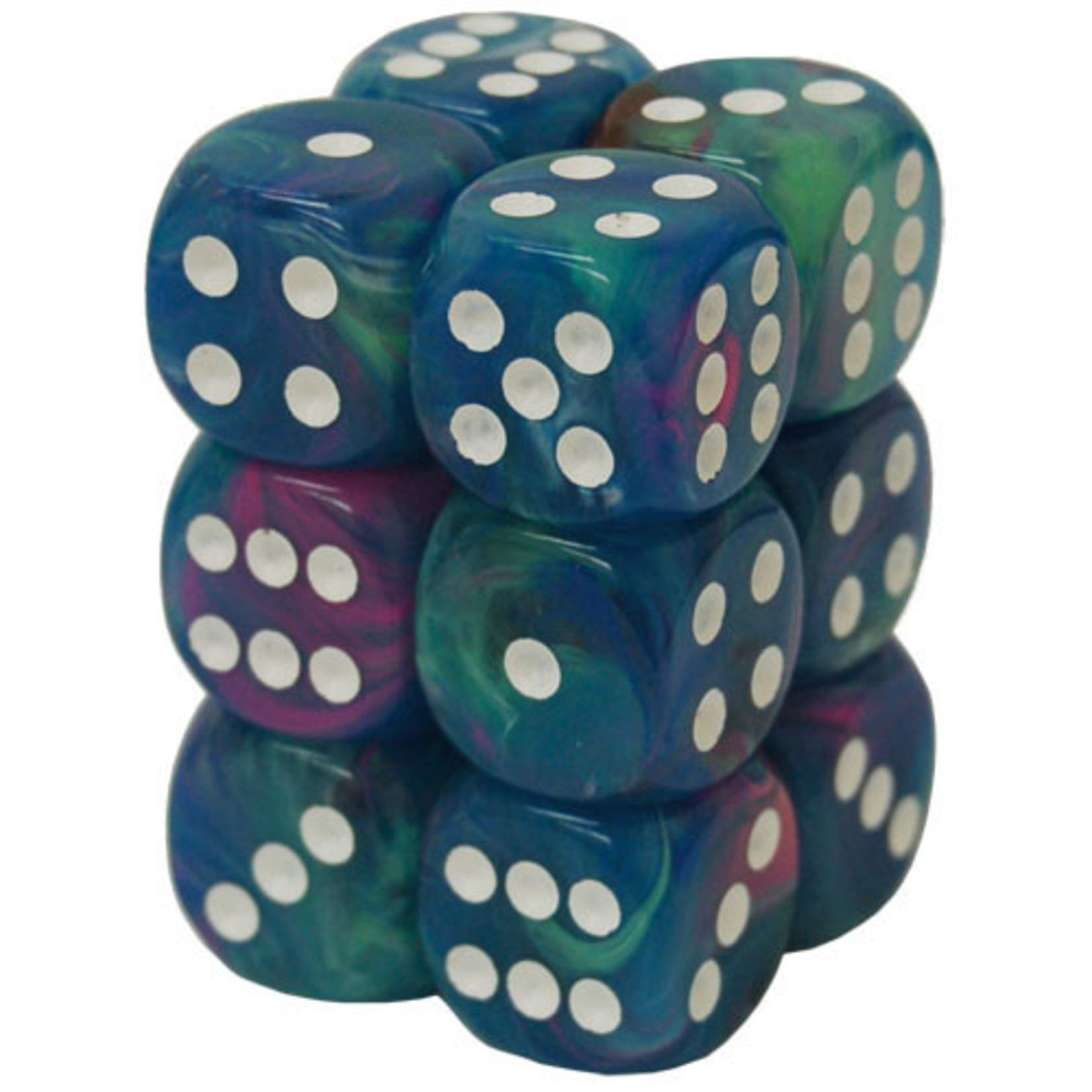Dice Menagerie 10: 16mm D6 Waterlily/White (12)