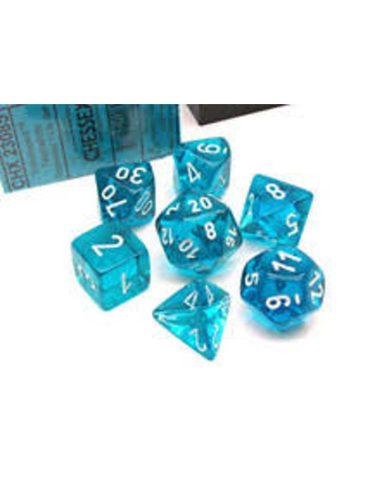 Chessex Translucent: Poly Teal/White (7) Revised
