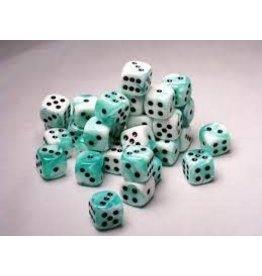 Chessex Gemini 4: 12mm D6 White Teal/Black (36)