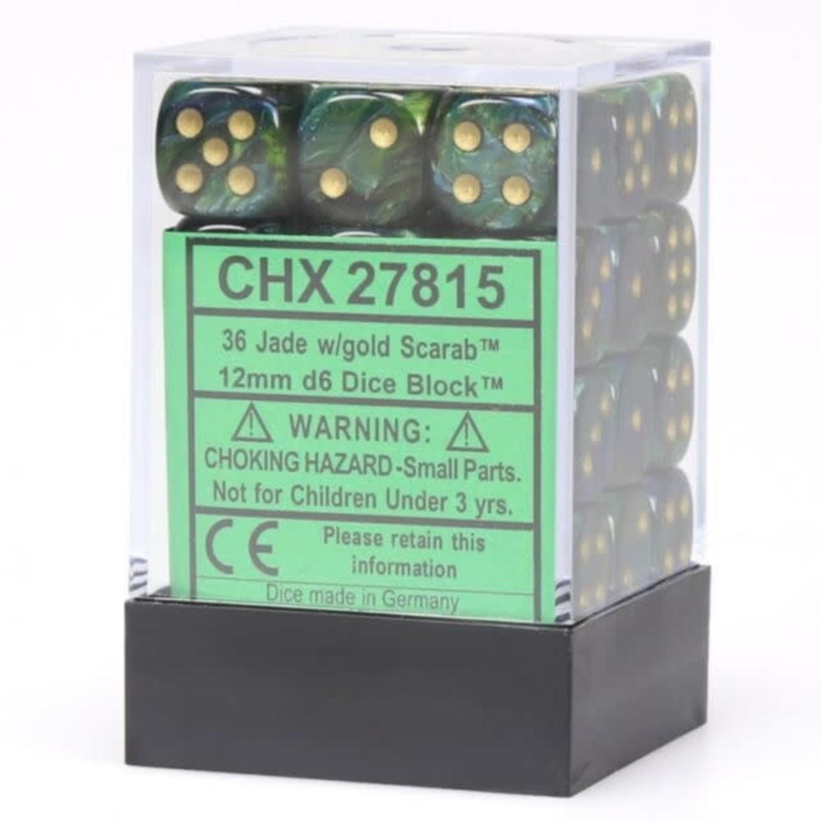 Scarab: 12mm D6 Jade/Gold/Black (36)