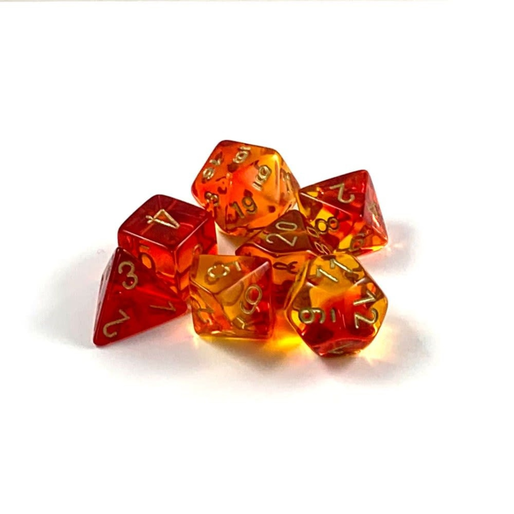Chessex Gemini Translucent Polyhedral Red-Yellow/gold 7-Die Set