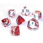 Chessex Gemini Polyhedral Red-White/blue 7-Die Set