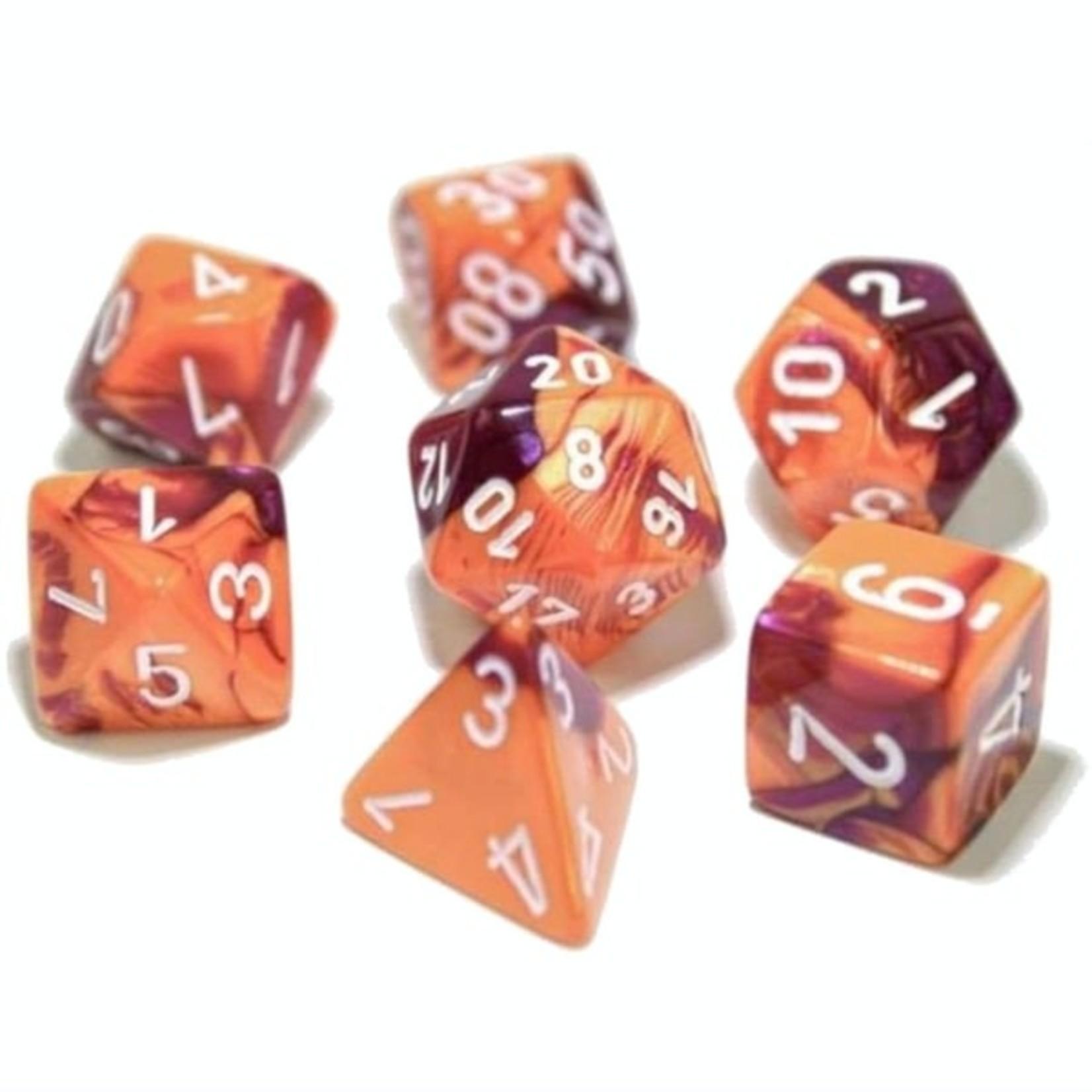 Chessex Gemini Polyhedral Orange-Purple/white 7-Die Set