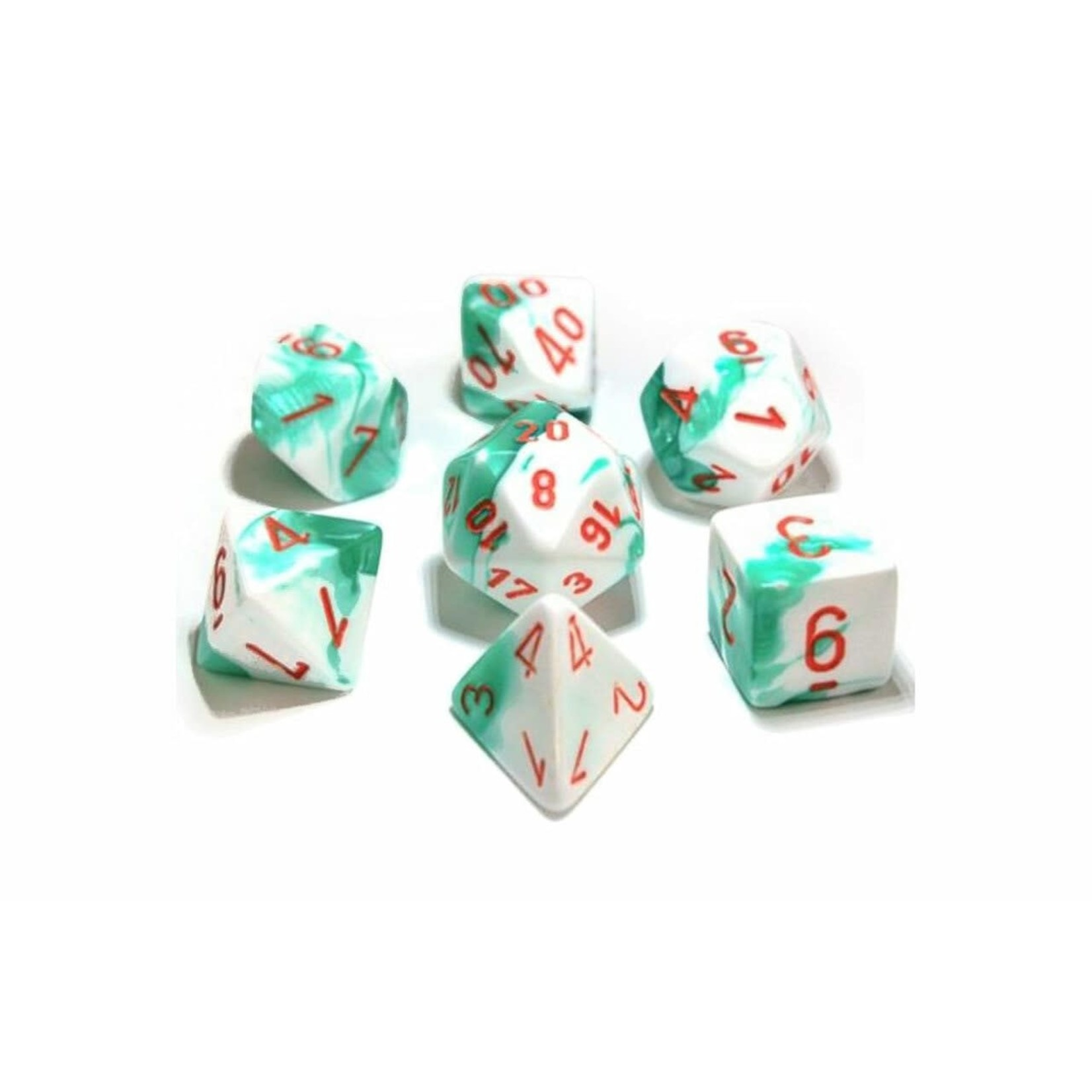 Chessex Gemini Polyhedral Mint Green-White/orange 7-Die Set