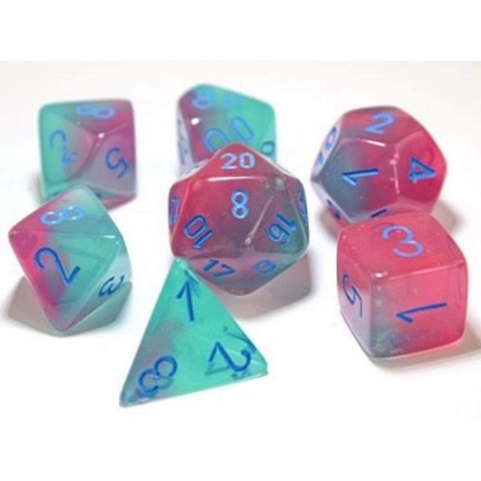 Chessex Gemini Polyhedral Gel Green-Pink/blue 7-Die Set