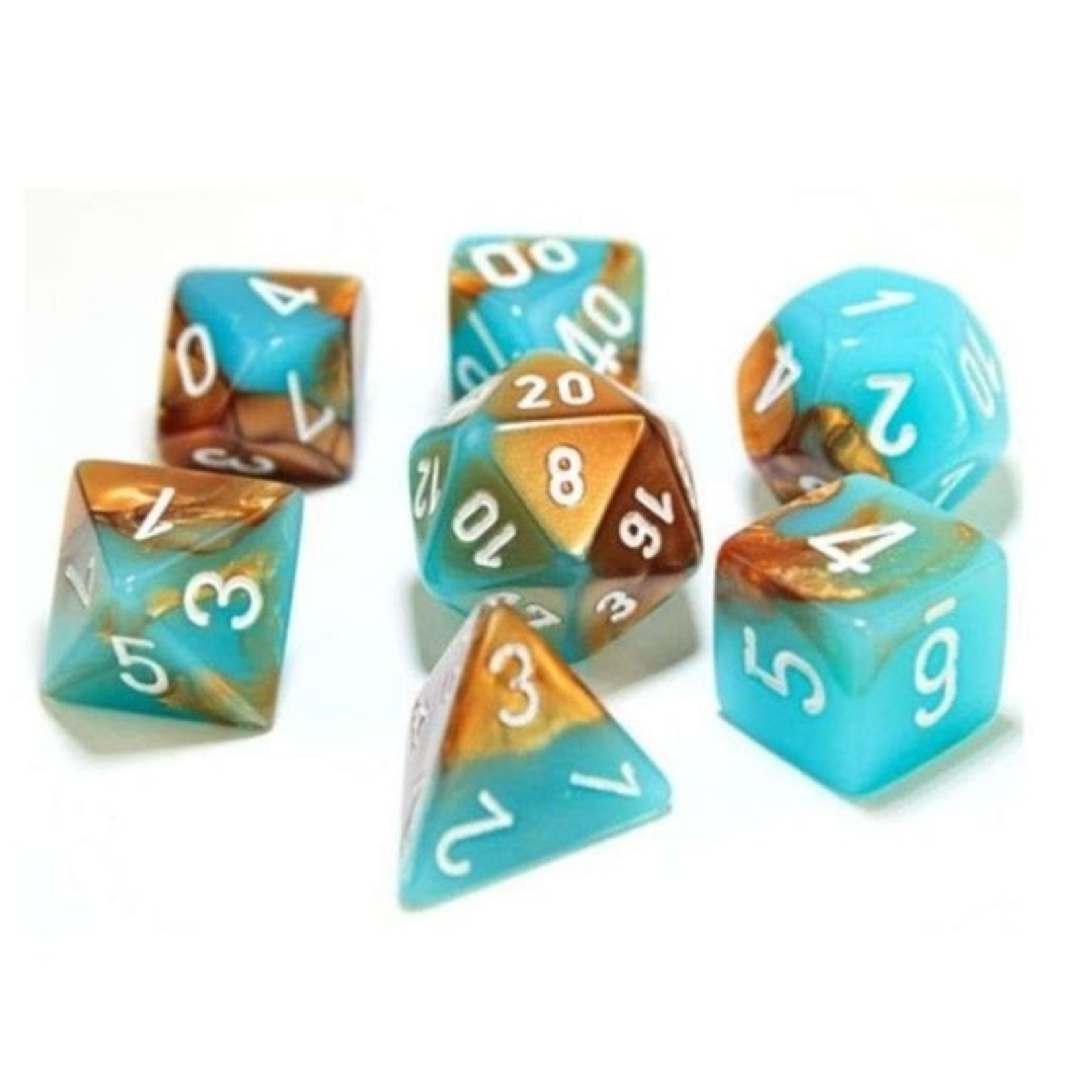 Chessex Gemini Polyhedral Copper-Turquoise/white 7-Die Set