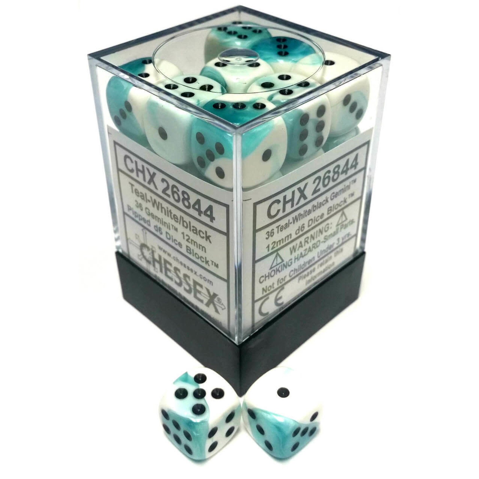 Gemini 4: 12mm D6 White Teal/Black (36)