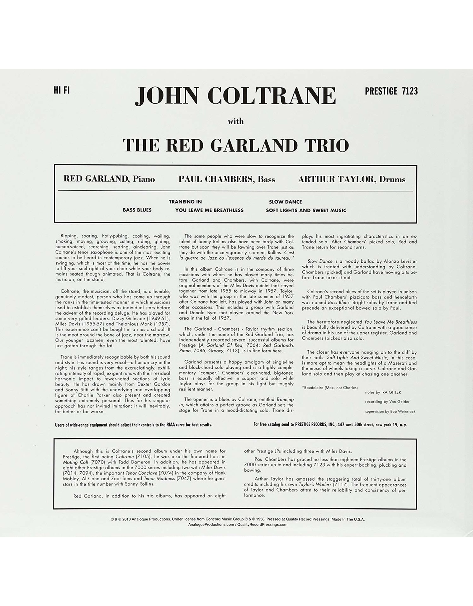 John Coltrane / Red Garland Trio - Traneing In