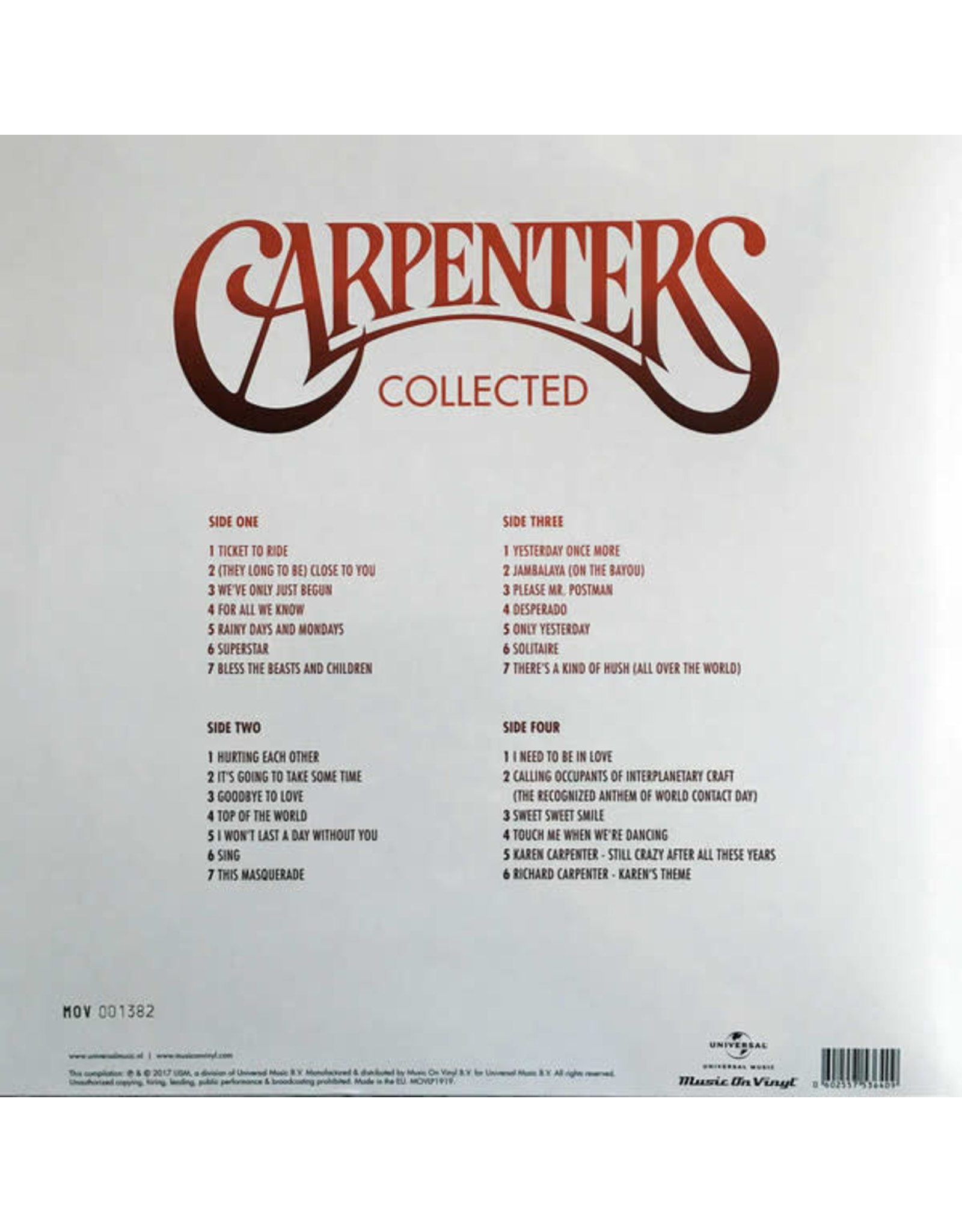 Carpenters - Collected (Red Vinyl) [Music On Vinyl]