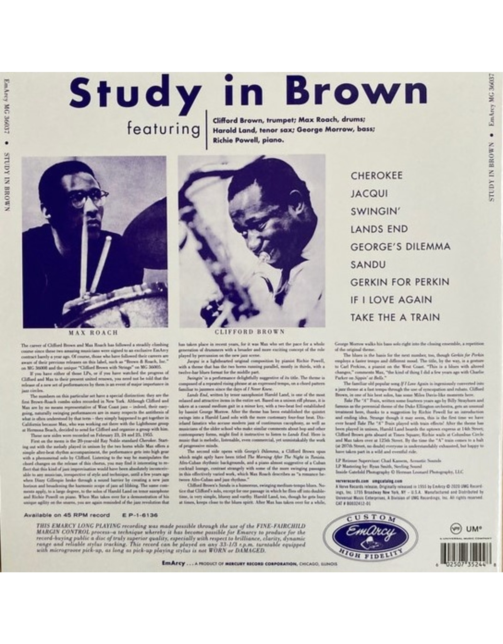 Clifford Brown / Max Roach - A Study In Brown (Verve Acoustic Sounds Series)