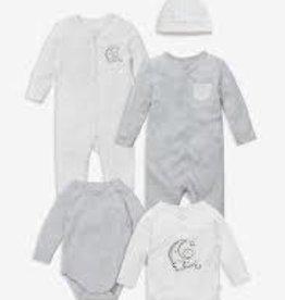 Baby Mori Premature Set Grey/White One Size
