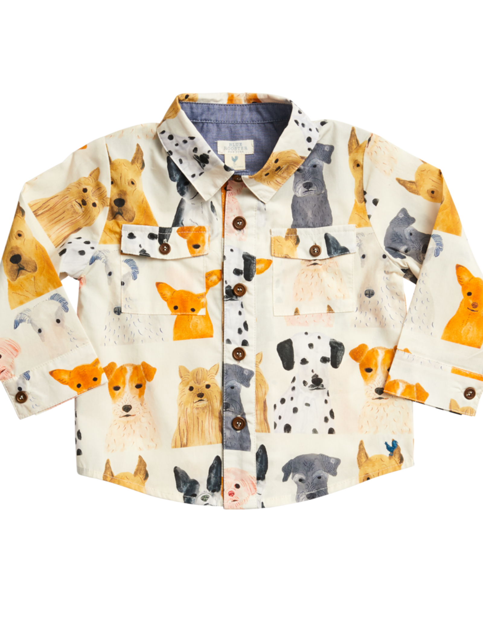 Pink Chicken Jack Shirt  Multi Watercolor Dogs