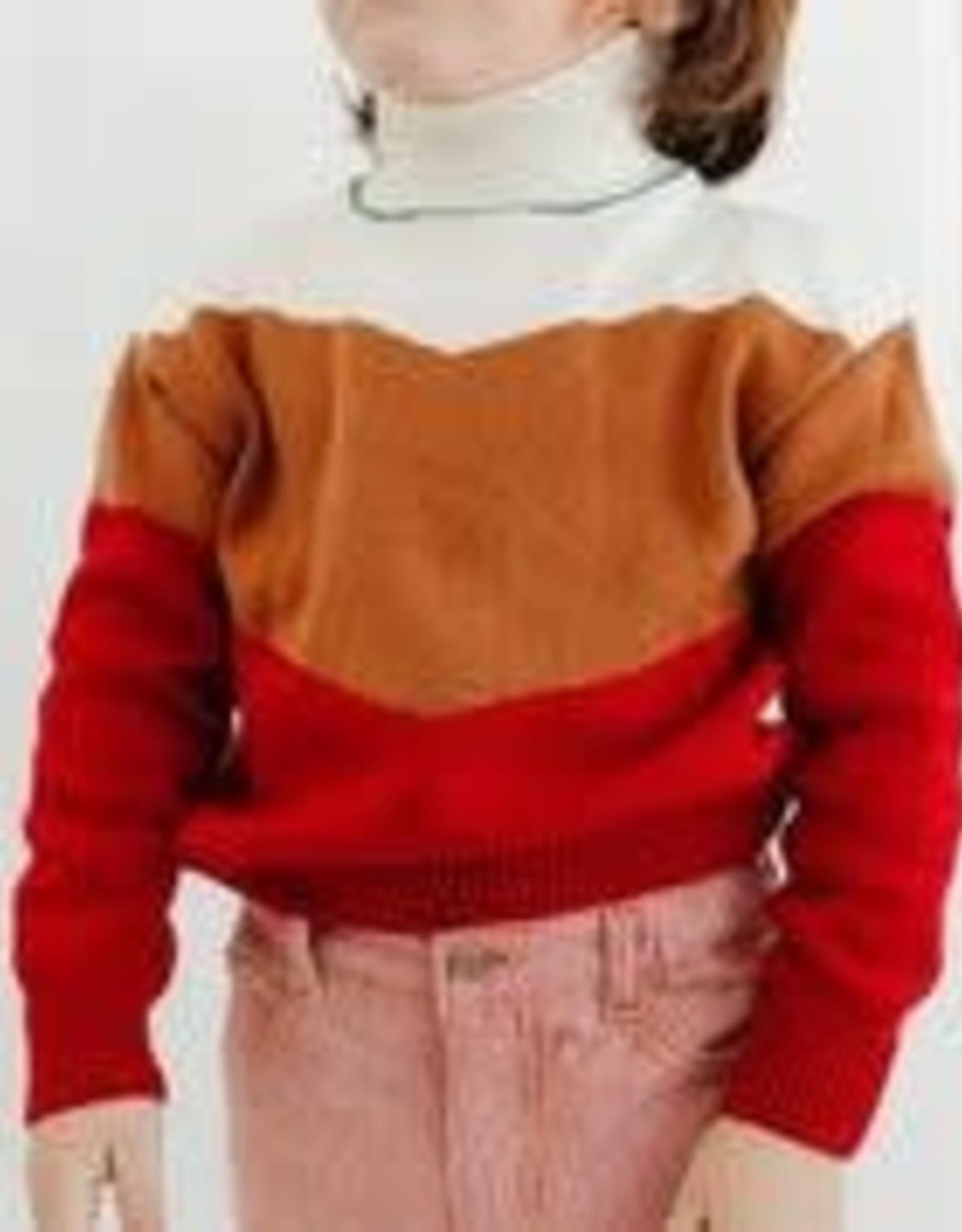 Fin & Vince Color Block Mock Sweater