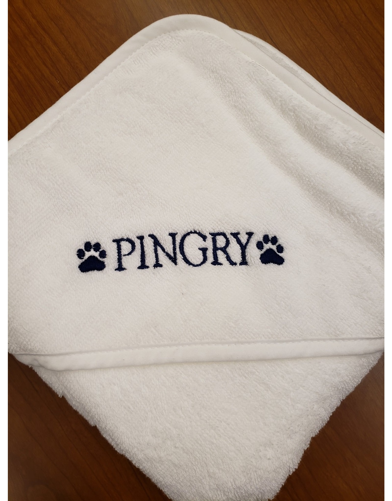 Baby Hooded Towel-White-embroidered in blue