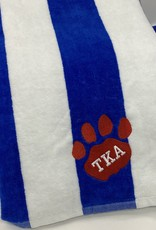Alston's Embroidery TKA Striped Beach Towel - Royal With Red Paw