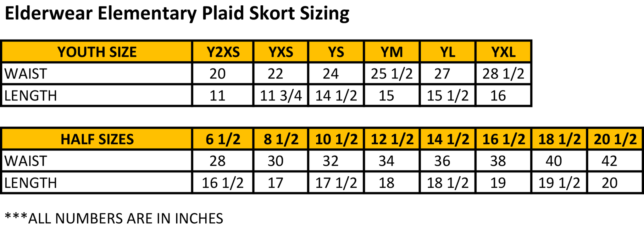 Elementary Plaid Skort Size Chart