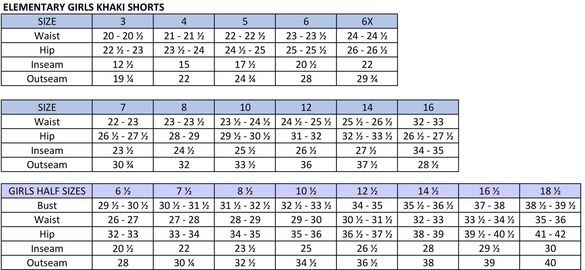 Elementary Girls Khaki Shorts Size Chart