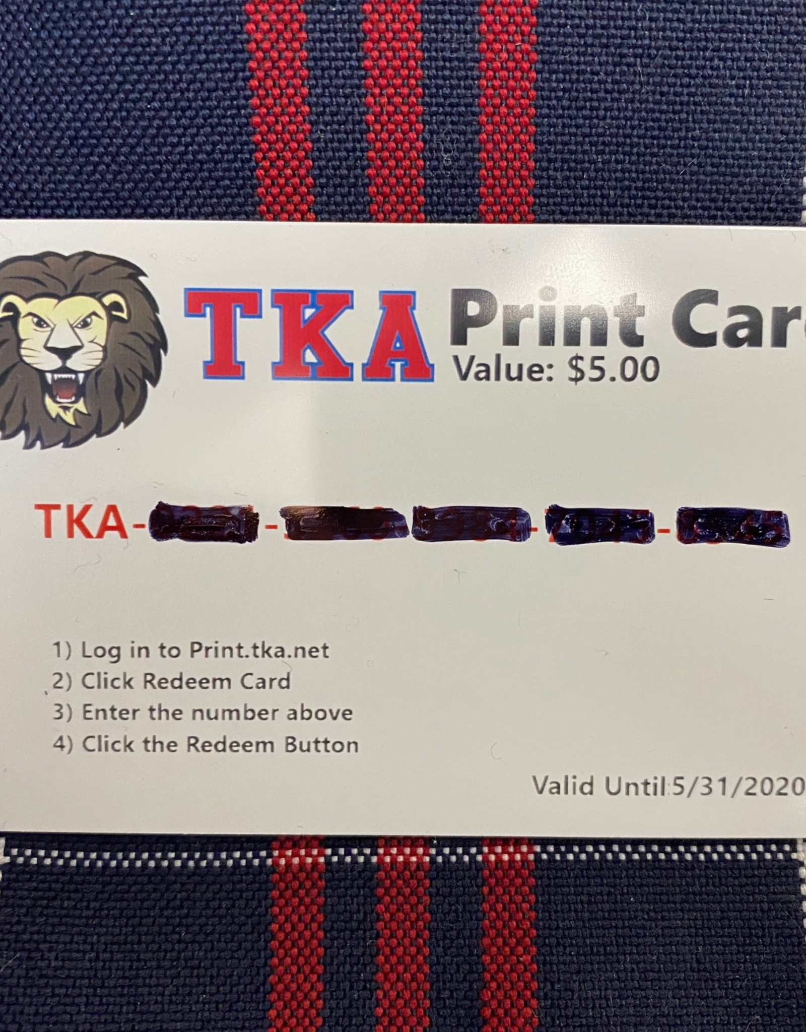 $5 Print Card (for TKA Library Printing)