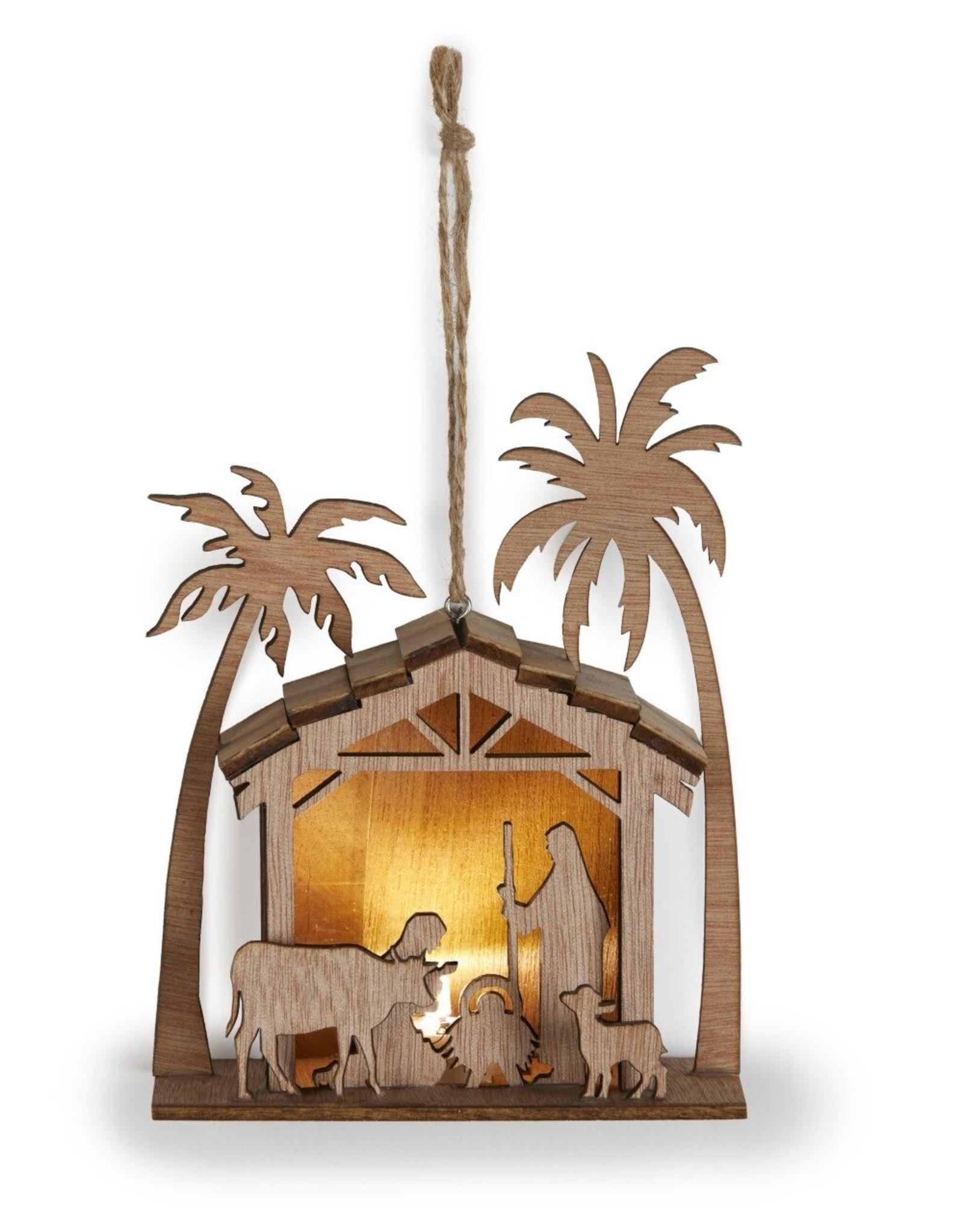 Demdaco Wooden Star Nativity Ornament - Light up!