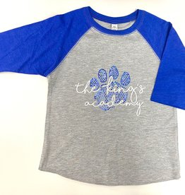 SAS Bling Girls' 3/4 Sleeve Tee w/ Sparkle Paw