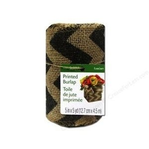 Floracraft . FLC (DISC) - Burlap Ribbon - Natual & Black Chevron 2.5""