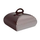 Retail Supplies . RES (DISC) Medium Brown & White Stripe Bakery Box