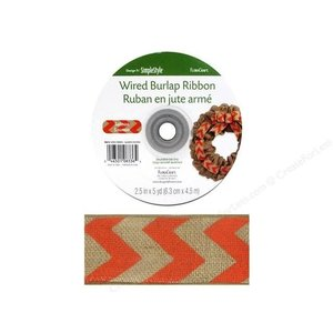 "Floracraft . FLC (DISC) - Burlap Ribbon - Natural & Orange Chevron 2.5"""
