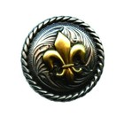 Silver Creek Crafts . SCC Fleur De Lis Concho Gold and Silver Leather Crafts Calgary