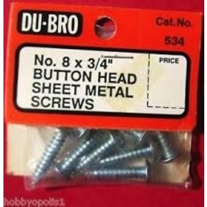 Du Bro Products . DUB BUTTON HEAD SCREWS8 X 3/4