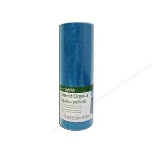 """Floracraft . FLC (DISC) - Organza - Glitter Dot - Turquoise 6"""""""