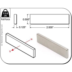 Magcraft Magnets . MFM 2X1/2X1/8 RARE EARTH BLOC MAG