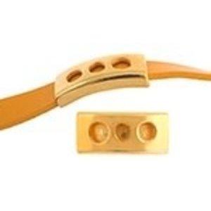 John Bead Corporation . JBC Slider Tube 3 Holes - Gold Tone
