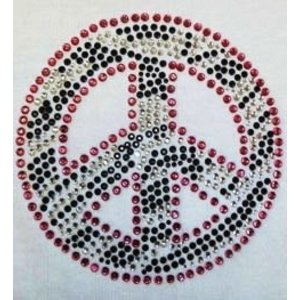 Folk Art . FLK Iron-on Peace Rhinestone Zebra Print