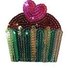 Folk Art . FLK Iron-on Sequins Cupcake