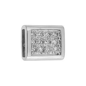 John Bead Corporation . JBC Slider Rectangle with Crystals - Silver Tone