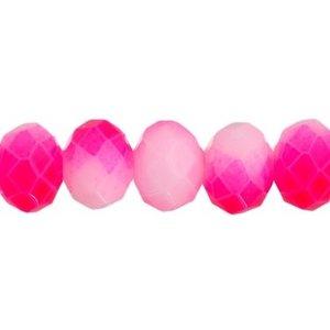 John Bead Corporation . JBC Crystal 8 X 10 mm Pink/White  Neon