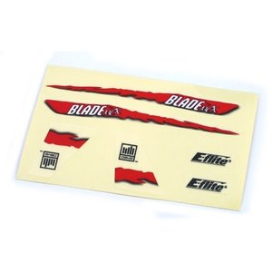 E Flite . EFL DECAL SHEET, RED GRAPHICS BMCX