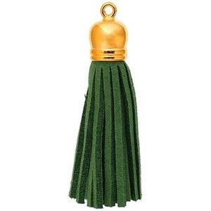 John Bead Corporation . JBC Faux Suede Tassle Gold Cap Emerald Green 2 pcs