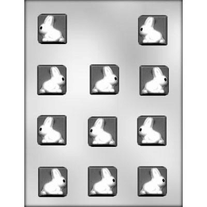 """CK Products . CKP 1-1/4"""" Square with Bunny Chocolate Mold"""