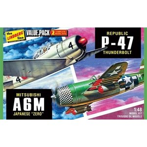 Lindberg . LND 1/48 WWII P-47 and Zero Two Pack