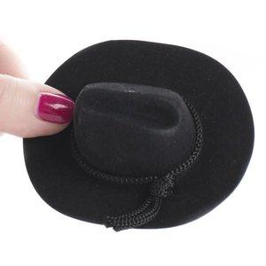 "Darice . DAR Black Cowboy Hat w/ Rope Trim 4"""